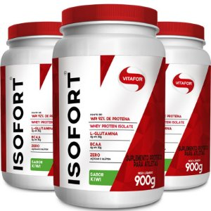 Kit 3 Whey protein Isofort Vitafor Kiwi mix 900g