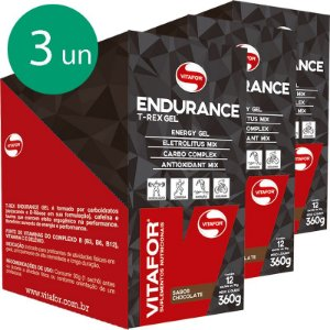 Kit 3 Endurance gel carboidrato Vitafor chocolate 12 sachês