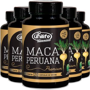 Kit 5 Maca peruana premium 550mg Unilife 120 cápsulas