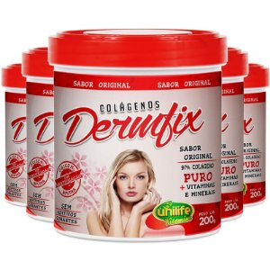 Kit 5 Colágeno hidrolisado dermix em pó Unilife 200g