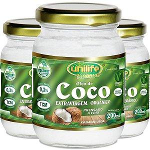 Kit 3 Óleo de coco orgânico extra virgem Unilife 200ml