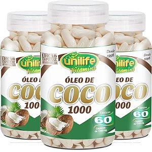Kit 3 Óleo de coco extra virgem 1200mg Unilife 60 cápsulas