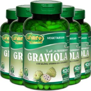 Kit 5 Graviola 560mg Unilife 120 cápsulas