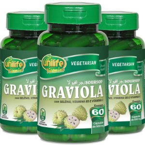 Kit 3 Graviola 560mg Unilife 60 cápsulas