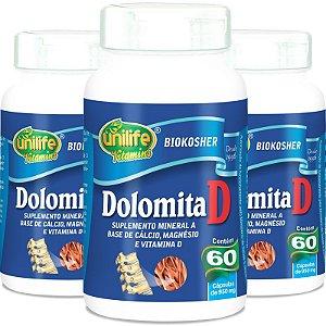 Kit 3 Dolomita com vitamina D Unilife 60 cápsulas