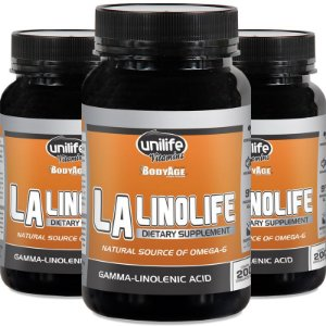 Kit 3 Óleo de prímula Linolife LA Unilife 200 cápsulas