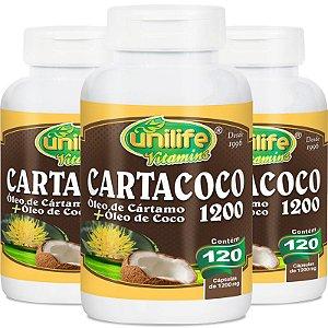 Kit 3 Óleo de cartamo e coco Cartacoco 1200mg Unilife 120 cápsulas
