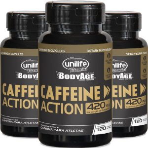 Kit 3 Cafeína 420mg Caffeine Action Unilife 120 cápsulas