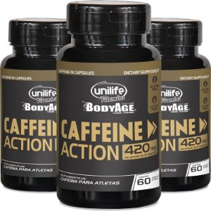 Kit 3 Cafeína 420mg Caffeine Action Unilife 60 cápsulas