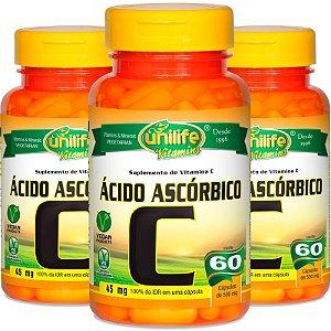 Kit 3 Vitamina C Ácido ascórbico Unilife 60 cápsulas
