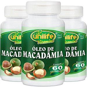 Kit 3 Óleo de macadâmia Unilife 60 cápsulas