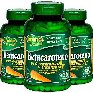 Kit 3 Betacaroteno Pró-Vitamina A Unilife 120 cápsulas