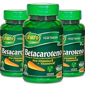 Kit 3 Betacaroteno Pró-Vitamina A Unilife 60 cápsulas
