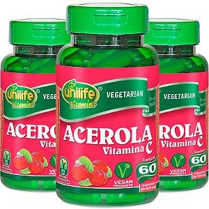 Kit 3 Acerola vitamina C Unilife 60 cápsulas