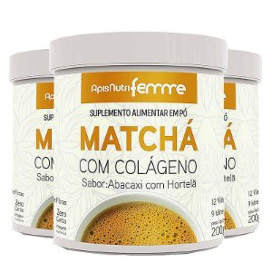 Kit 3 Matcha Solúvel Apisnutri Femme Abacaxi com Hortelã 200g