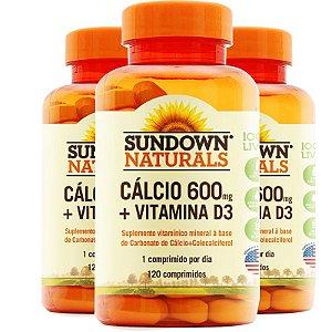 Kit 3 Cálcio 600mg + Vitamina D3 Sundown 120 cápsulas