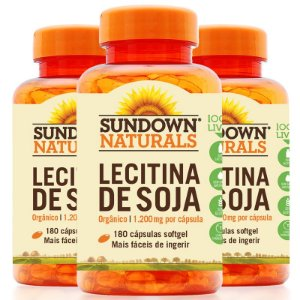 Kit 3 Lecitina de soja 1200mg Sundown 180 cápsulas