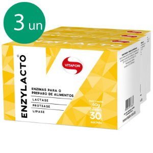 Kit 3 Enzylacto enzimas digestivas Vitafor 30 sachês