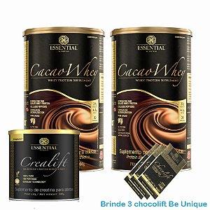 Kit massa muscular - 2x Cacao whey 900g com Creatina Essential Nutrition