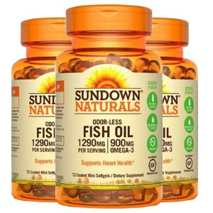 Kit 3 Fish Oil Odorless Óleo de Peixe 1290mg Sundown 72 Cápsulas