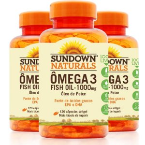 Kit 3 Fish Oil Óleo de Peixe 1000mg Sundown 120 Cápsulas