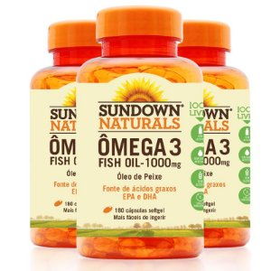 Kit 3 Fish Oil Óleo de Peixe 1000mg Sundown 180 Cápsulas