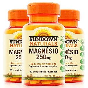 Kit 3 Magnésio 250mg Sundown 30 Comprimidos