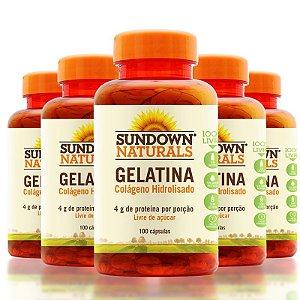 Kit 5 Gelatin 650mg Colágeno Hidrolisado Sundown 100 Cápsulas