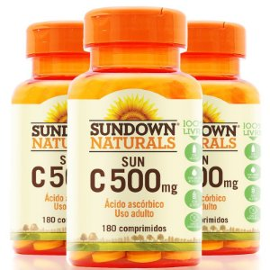 Kit 3 Vitamina C 500mg Sundown 180 Tablets