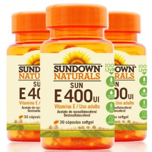 Kit 3 Vitamina E 400 Ui Sundown 100 Cápsulas