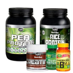 Kit massa muscular vegana Pea + Rice protein Unilife