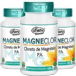 Kit 3 Cloreto de Mag. Magneclor 600mg Unilife 60 Cápsulas