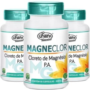 Kit 3 Cloreto de Mag. Magneclor 600mg Unilife 60 Cápsulas Cx.