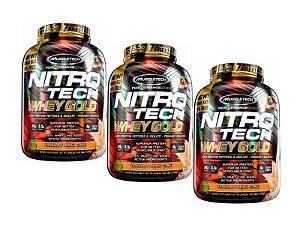 Kit 3 Nitro Tech Whey Gold Vanilla Funnel Cake Muscletech 2.50kg