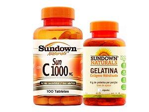 Kit Vitamina C 100 Cáps + Colágeno 75 Cáps Sundown