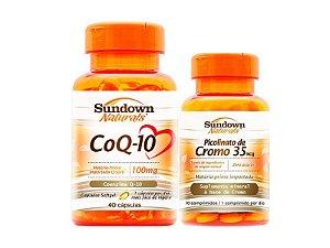 Kit Coezima Q10 40 Cáps + Picolinato de Cromo 90 Cáps Sundown