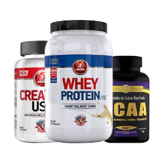 Kit Massa Muscular Whey + Creatina + Bcaa Midway