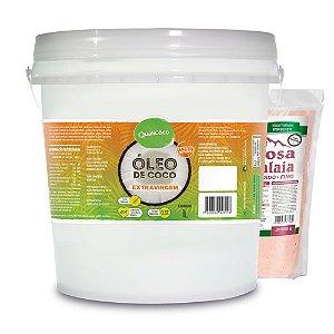 Kit Óleo de coco Extra Virgem 3 litros Qualicoco + 1kg de Sal Rosa