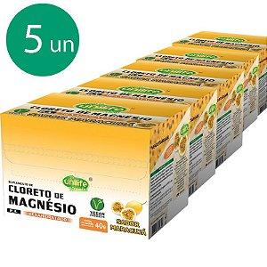 Kit 5 Cloreto de Magnésio 40g Unilife Sabor Maracujá
