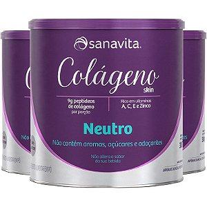 Kit 3 Colágeno Hidrolisado em Pó Neutro Sanavita 300g