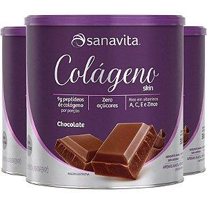 Kit 3 Colágeno Hidrolisado em Pó Chocolate Sanavita 300g