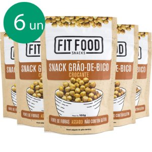 Kit 6 Snack Grão de Bico Levemente Salgado Fit Food 100g