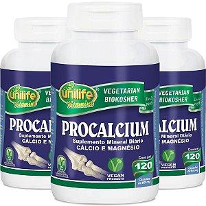 Kit com 3 Procalcium Cálcio e Magnésio 120 cápsulas Unilife