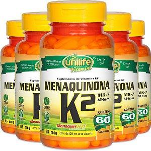 Kit com 5 Vitamina k2 menaquinona mk7 60 cápsulas Unilife