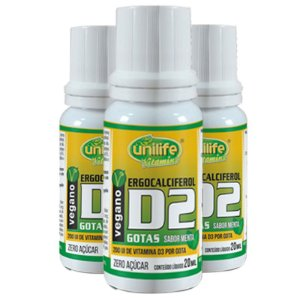 Kit com 3 Vitamina d2 em gotas 20ml Unilife