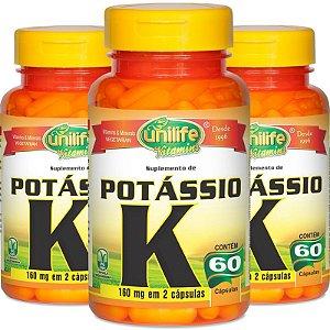 Kit com 3 Potássio quelato 60 cápsulas Unilife