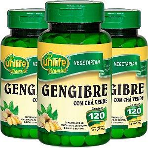 Kit com 3 Gengibre com chá verde 120 comprimidos Unilife