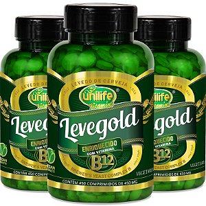 Kit com 3 Levegold levedo cerveja com vitamina B12 Unilife