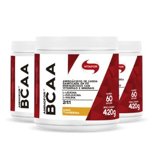 Kit 3 Aminofor BCAA em pó Vitafor 420g Tangerina