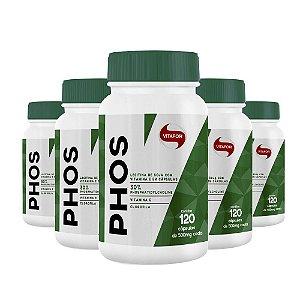 Kit 5 Lecitina de Soja Phos Fosfatidilcolina Vitafor 120 cápsulas